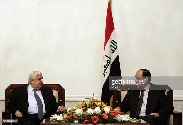 Syrian Foreign Affairs Minister Walid Muallem meets his Iraqi counterpart Hoshyar Zebari on March 25 2009 in Baghdad Iraq Muallem is in Baghdad for...