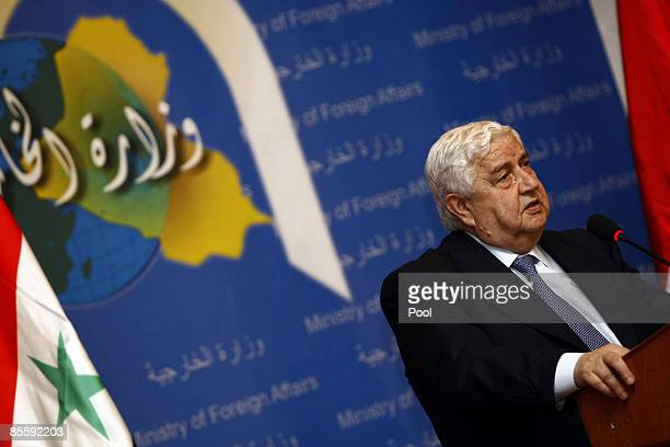 Syrian Foreign Affairs Minister Walid Muallem speaks during a press conference with his Iraqi counterpart Hoshyar Zebari on March 25 2009 in Baghdad...