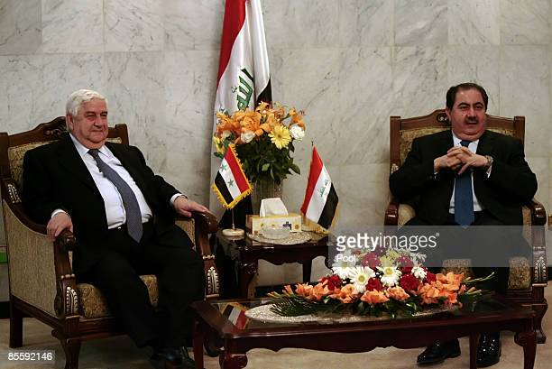 Syrian Foreign Minister Walid Muallem meets with his Iraqi counterpart Hoshyar Zebari on March 25 2009 in Baghdad Iraq Muallem is in Baghdad for...