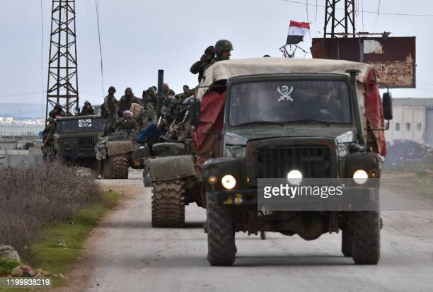 Syrian government forces deploy near the DamascusAleppo highway in the southern part of Syria's northern Aleppo province on February 10 2020 Syrian...