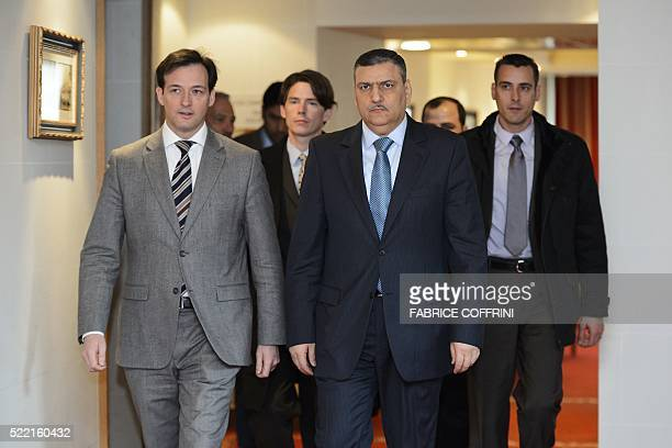 Syrian Head of the High Negotiation Committee Riad Hijab arrives for Syria Peace Talks on April 18 2016 in Geneva Key Syrian rebel groups vowed on o...