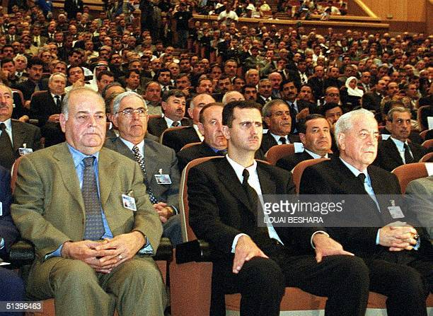 Syrian heir apparent Bashar alAssad son of the late president Hafez alAssad Defence Minister Mustafa Tlass and Essam alQadeeh secretarygeneral of the...