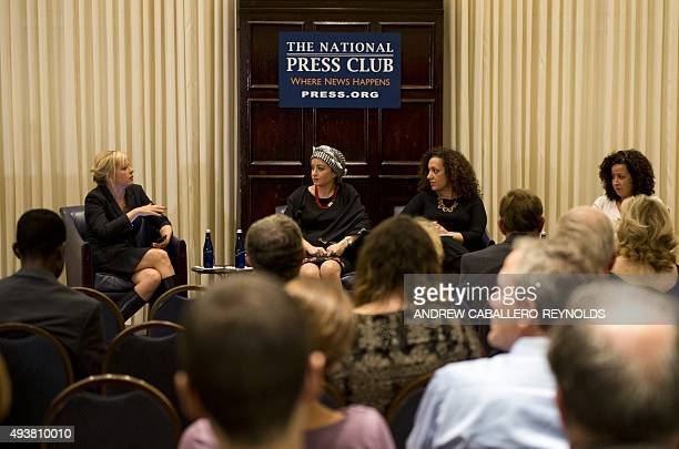 Syrian journalist Zaina Erhaim takes part in a panel discussion after receiving the 2015 Peter Mackler award at the National Press Club in Washington...