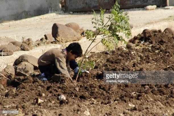Syrian kids plant trees during the event named 'We plant future' in the towns besieged by Assad Regime in Homs Syria on January 3 2018