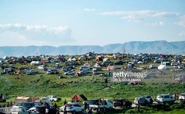 Syrian Kurds gather for a celebration marking the spring festival of Nowruz in the town of alQahtaniyah in the Hasakeh province near the...