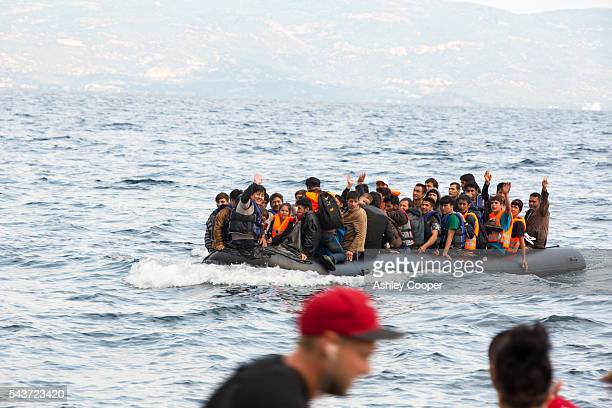 Syrian migrants fleeing the war and escaping to Europe landing on the Greek island of Lesvos on the north coast at Efthalou Up to 4000 migrants a day...