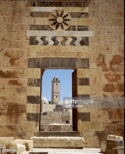 syrian mosque seen from citadel - aleppo stock pictures, royalty-free photos & images