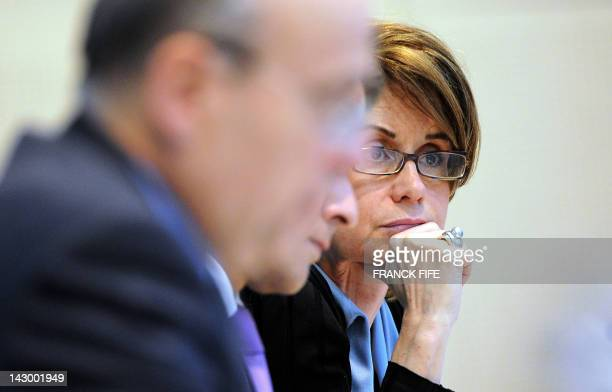 Syrian National Council delegate Maria Chatti Gautier takes part on April 17 2012 at the Foreign Affairs Ministry's conference centre in Paris in the...