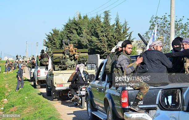 Syrian opponents are seen before they attack Daesh terrorist organization's positions near the Tat village in Aleppo Syria after they took control of...