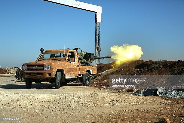Syrian opponents clash against Daesh militants in Mari District of Aleppo, Syria on September 4, 2015.