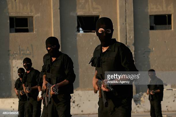 Syrian opponents from ArRahman Brigades undergo one month military training on July 12 2015 in the eastern Gouta region of Damascus Syria 150 Syrian...