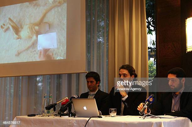 Syrian opponents hold a press conference about the newly published photos of Syria War Crime evidences in Montreux Switzerland on January 23 2014