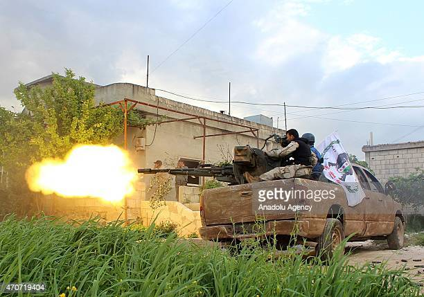 Syrian opponents stage attack on Assad Regime's military base in Sahlul Gab district Hama city of westcentral Syria on April 22 2015