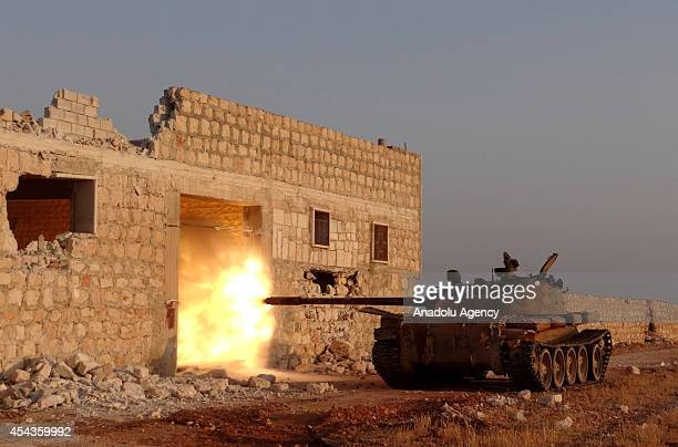 Syrian opposition brigades and members of Islamic Front stage attacks with tanks to the locations of Assad regime forces in north region of Aleppo...