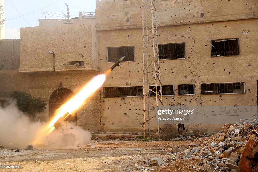 Syrian opposition forces attack with missiles to Malikiye neighborhood, in Eastern Ghouta, Damascus, Syria on November 08, 2015.