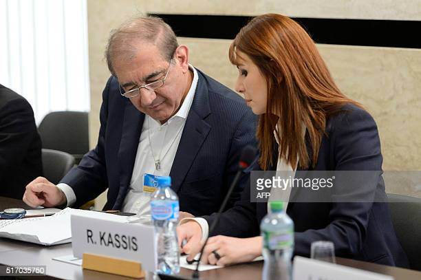 Syrian opposition members former deputy prime minister Qadri Jamil and secular activist Randa Kassis who do not belong to the High Negotiations...