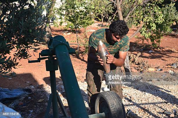 Syrian opposition members of Damascus Front attack Daesh militants with artilleries in Ummul Qura village near near Mari district northern Aleppo...