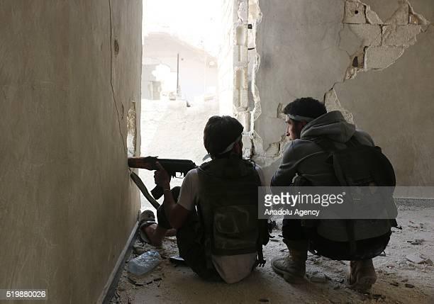 Syrian oppositions attack regime forces at Handarat region of Aleppo Syria on April 8 2016