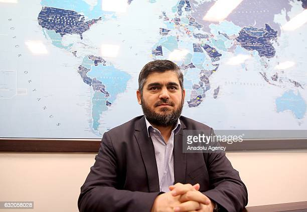 Syrian oppositions' chief negotiator Mohammad Alloush poses during an exclusive interview for Anadolu Agency in Istanbul Turkey on January 19 2017...