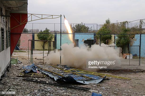 Syrian oppositions launch rocket attack to regime controlled eastern Ghouta after Russian army carried out an airstrike at Douma district in Damascus...
