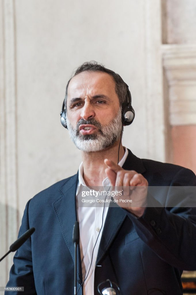Syrian opposition's National Coalition chief Ahmed Moaz al-Khatib gestures as he talks during a press conference after the meeting of the 'Friends of the Syrian People', attended by US Secretary John Kerry, at Villa Madama on February 28, 2013 in Rome, Italy. Kerry stated that the opposition needs 'more help' in the fight against President Bashar Hafez al-Assad. The new US Secretary of State is on his first trip and is visiting nine nations in Europe and the Middle East.