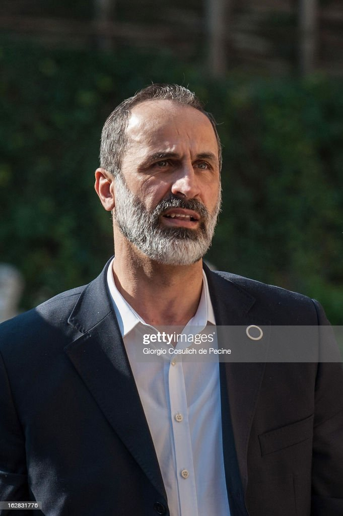 Syrian opposition's National Coalition chief Ahmed Moaz al-Khatib arrives to attend a meeting of the 'Friends of the Syrian People' attended by US Secretary John Kerry, at Villa Madama on February 28, 2013 in Rome, Italy. Kerry stated that the opposition needs 'more help' in the fight against President Bashar Hafez al-Assad. The new U.S. Secretary of State is on his first trip and is visiting nine nations in Europe and the Middle East.