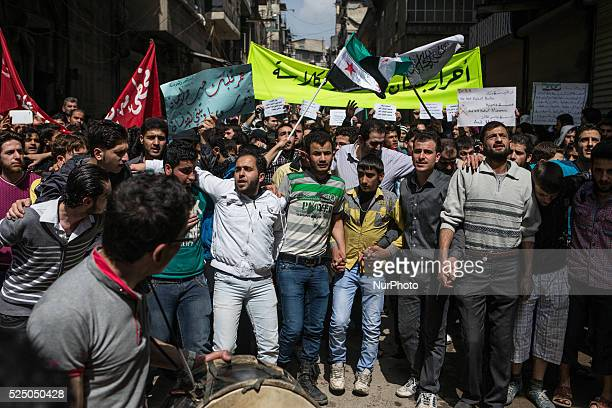 Syrian people demonstrate in the old city of Aleppo Syria