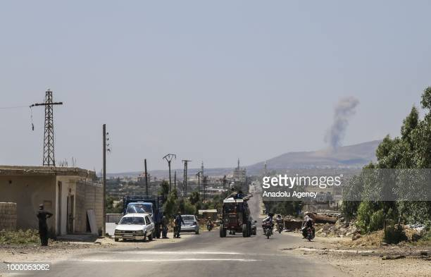 Syrian people migrate to the safe zones after war planes belonging to Assad Regime carried out airstrikes at the Al Harra district of Daraa, Syria on...