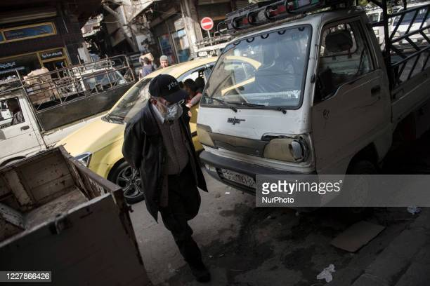 Syrian people take preventative measure against Covid-19 in Damascus, Syria on July 30, 2020.