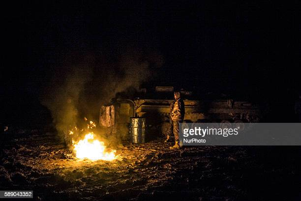 Syrian People's Protection Units members in frontline of Raqqa fight against Daesh on January 6 2016
