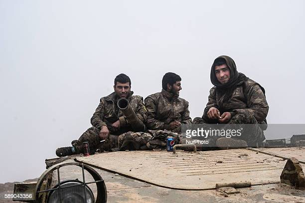 Syrian People's Protection Units members in frontline of Raqqa fight against Daesh on January 7 2016