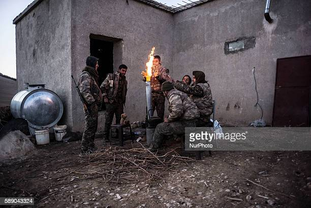 Syrian People's Protection Units members in frontline of Raqqa on January 2 2016