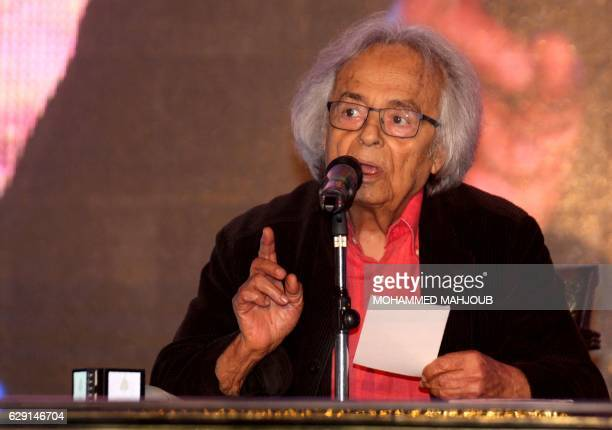 Syrian poet Ali Ahmad Said Esber also known by the pen name Adonis recites his poems during a reading at the Atheer festival for Arabic Poetry on...