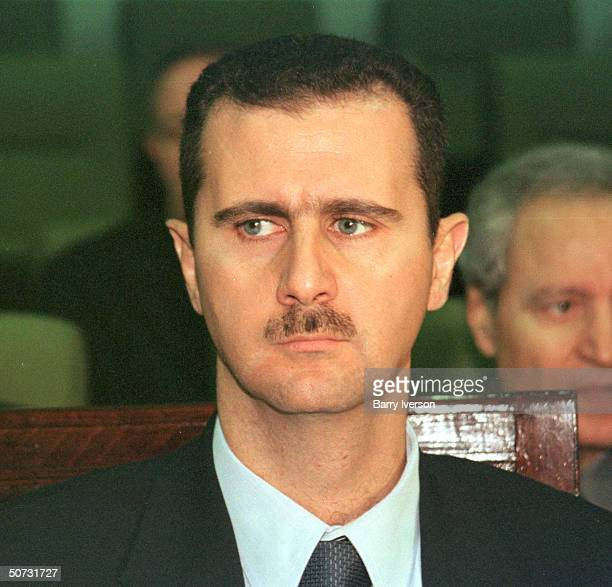 Syrian Pres. Bashar al-Assad in serious portrait during Arab League summit held October 21-22.