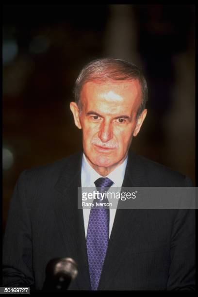 Syrian Pres. Hafez Al Assad during joint press conf. While visiting Cairo, Egypt.