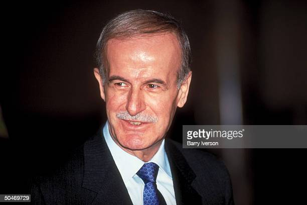 Syrian Pres Hafez Al Assad during joint press conf while visiting Cairo Egypt