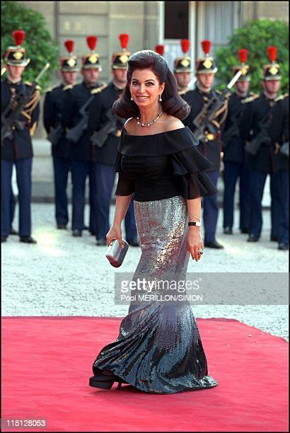 Syrian President Bachar Al Assad during the official dinner at Elysee Palace in Paris France on June 25 2001 Mrs Rafik Hariri