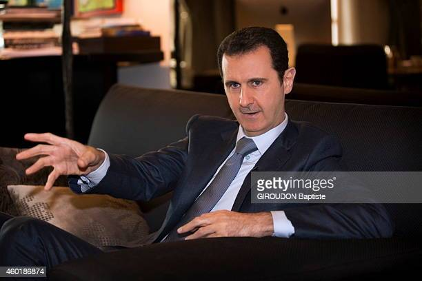 DAMAS SYRIA NOVEMBER 29 Syrian President Bachar ElAssad is interviewed in his office in Damas on November 29 2014
