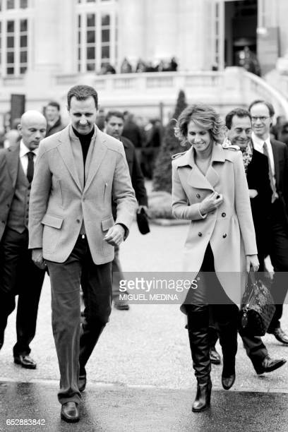 Syrian president Bashar al-Assad and his wife Asma leaves the Grand Palais after visiting the exhibition dedicated to French painter Claude Monet on...