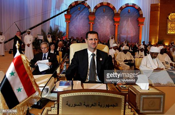 Syrian President Bashar alAssad attends the closing session of the Arab League summit in Doha on March 30 2009 Arab leaders concluded their annual...