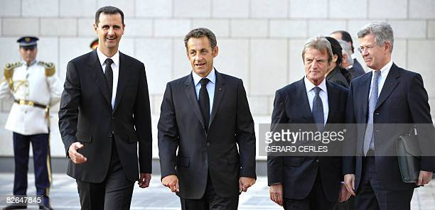 Syrian President Bashar alAssad his French counterpart Nicolas Sarkozy French Foreign affairs Minister Bernard Kouchner R and Sarkozy's special...