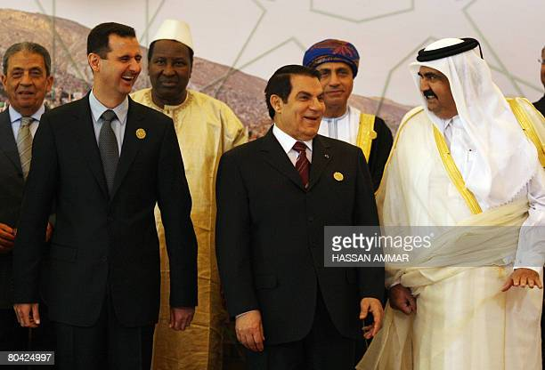 Syrian President Bashar al-Assad , his Tunisian counterpart Zine El Abidine Ben Ali and Qatar's Emir Sheikh Hamad bin Khalifa al-Thani pose for a...