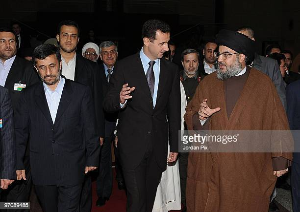 Syrian President Bashar al-Assad holds a reception in honour of the Iranian President Mahmoud Ahmadinejad with the presence of Hizbullah chief Hassan...