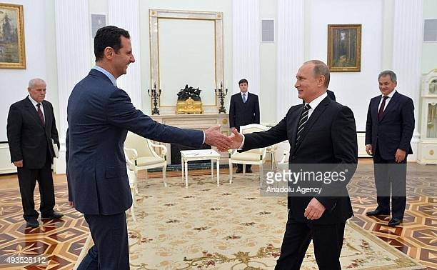 Syrian President Bashar alAssad meets with Russian President Vladimir Putin at the Kremlin Palace in Moscow Russia on October 21 2015