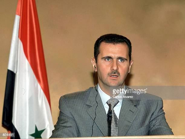 Syrian President Bashar Assad speaks at a press conference May 3 2001 in Madrid Spain The Syrian president is on a three day official visit to Spain...
