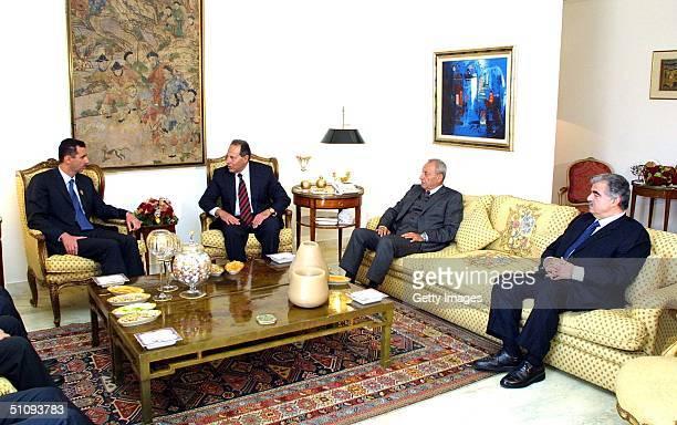 Syrian President Bashar Assad Speaks With Lebanese President Emile Lahoud Lebanese Head Of Parliament Nabih Berri And Lebanese Prime Minister Rafik...