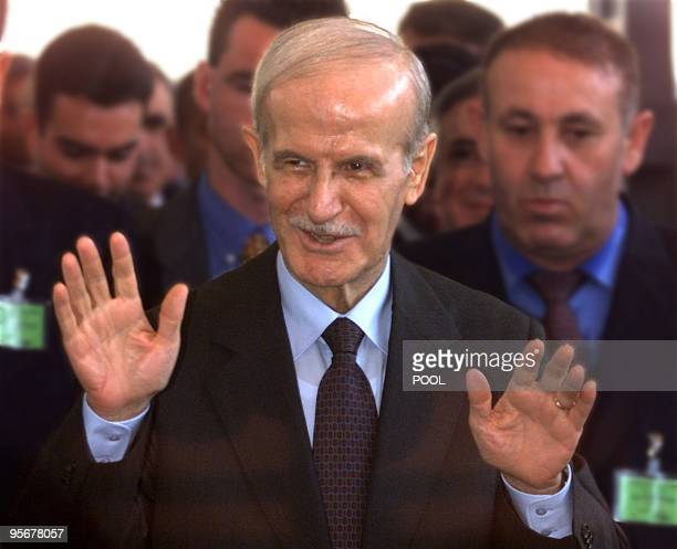 Syrian President Hafez alAssad arrives at the Arabian Institute in Paris 17 July Assad on a threeday official visit to France declared today he would...