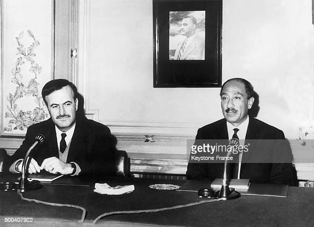 Syrian Prime Minister and Defense Minister Hafez alAssad with Egyptian president Anwar Sadat on a meeting at that time the Arab Republic of Syria had...