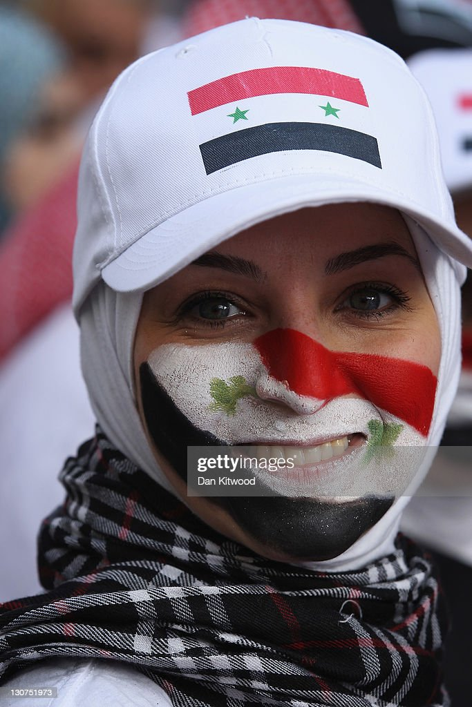 A Syrian protester gathers outside the Syrian Embassy on October 29, 2011 in London, England. Amnesty International activists and Syrians living in the UK are to hold a 'No More Blood - No More Fear' rally outside the Syrian embassy to call for an end to the government crackdown in Syria, which has killed at least 3,000 people.