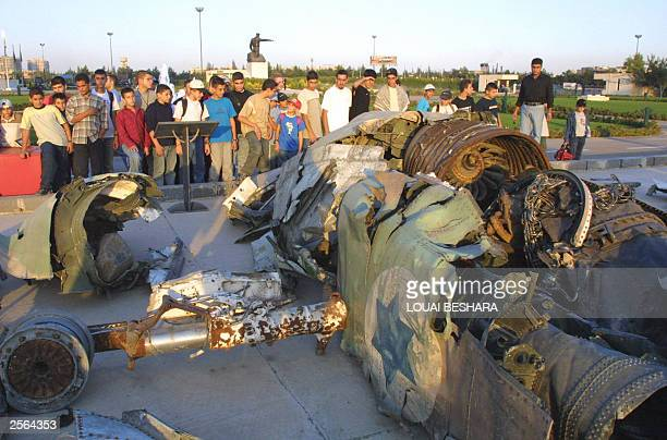 Syrian pupils from the city of Halab look at a downed Israeli F4 Fantom jet fighter from the 1973 ArabIsraeli war at the '06 October Museum' in...